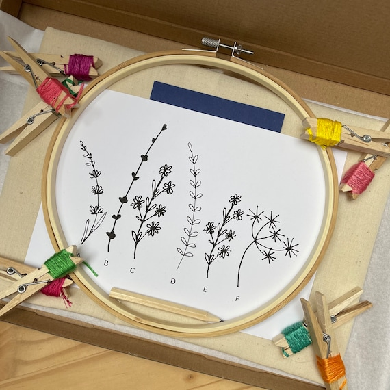 DIY Embroidery Kit   Make Your Own Wildflower Cotton Tote   Stitch-your-own floral tote bag   Bright