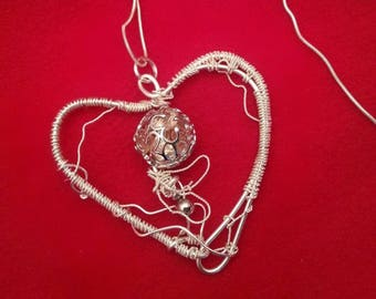 Pendant heart wire wrap hand curved with a massive silver 925 necklace