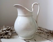 Antique Porcelaine G.C Opaque Off White Ironstone Jug Pitcher.French Antique Water Pitcher.French Rustic Farmhouse Decor.French Shabby Decor