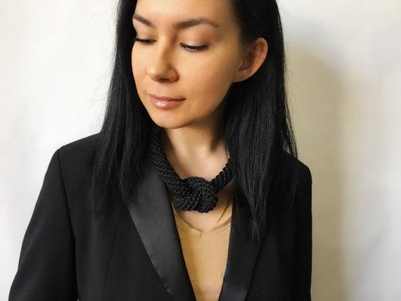 crochet nautical accessory statement knotted choker macrame chunky jewelry Black rope boho braided necklace fiber large cord knot