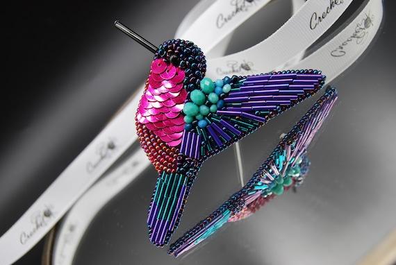 Sequin embroidery Crystal glass rhinestone pin Bird brooch pin Purple pink pin Bird lover gift Hummingbird beaded jewelry brooch