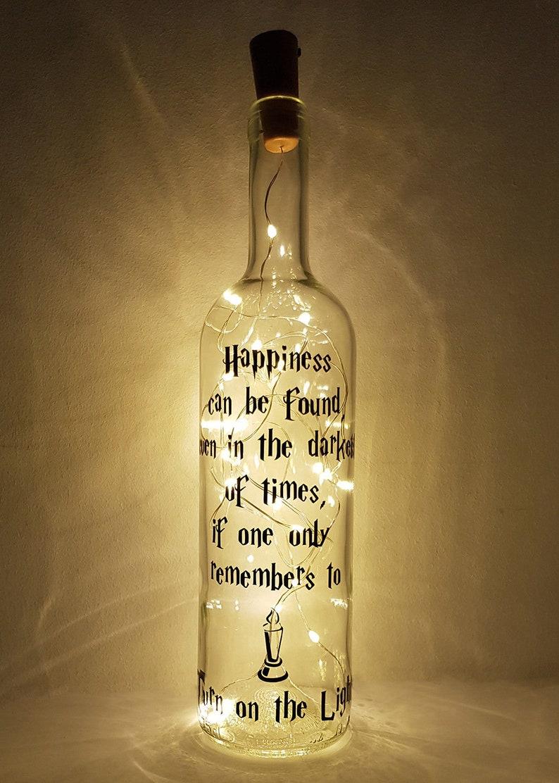 Personalised Potter Light Up Wine Bottle Lamp Birthday image 0