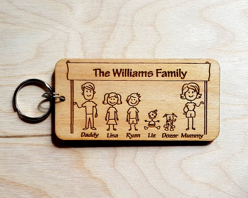 Dad Personalised Wooden Keyring Gifts Family Fathers day Grandad Daddy