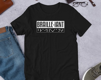 23092bfbf Braille-Iant T-shirt-Blind for Love T-Shirt-Love Fashion-Graphic Tees- Funny  Unique Texture Font Gift-Visually Impaired Reading Short-Sleeve