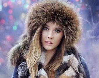 Women FOX FUR hat Warm winter trapper cap leather brown pilot aviator fur  hat with ear caps earflaps real naturel genuine fox fur gift 8f2b372e9836