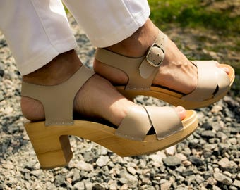Strap Leather Shoes Leather Sandal Handmade Clogs Womens Clogs Strap Leather Sandal Sandals Summer spring nude beige sandals, Swedish clogs