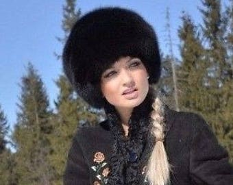 6fb9119794b New FOX FUR hat Black women warm winter beanie fur hat headwear luxury gift for  women soviet russian style real natural genuine fox fur