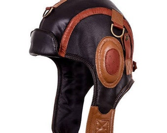 49f0ed2a64e Leather Hat aviator cap for men women ushanka winter cap pilot black cap  handmade vintage new hat with flip flap
