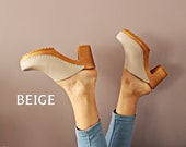 Leather clogs beige shoes Wooden clogs swedish clogs Handmade clogs sandals slip on high heel wood clog new clogs slide shoes platform boot