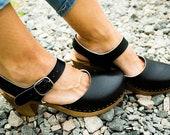 Leather clogs Black sandals handmade Sandals Wooden clogs swedish clogs Handmade clogs sandals Gift for women mule high heel wood clog black