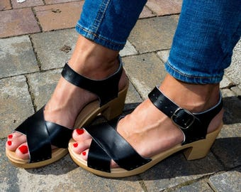 5c650c2afb47aa Leather Sandals Black Clogs Sandals Ankle Strap Sandals Wooden clogs  Handmade Sandal Swedish clogs slippers mule sweden clogs summer shoes