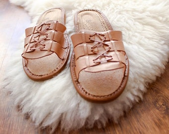 7971818830968 Summer slippers leather women slippers open toe slippers leather moccasins  real leather shoes boots boho bohemian folk ehtnic summer gift