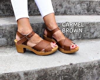 Leather sandals brown heel sandals Sandals Wooden clogs  swedish clogs high heel sandals strap sandals platform shoes open toe sandals gift