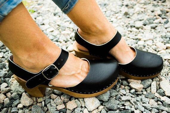 high Handmade Black Sandals Leather sandals Gift heel women swedish clogs for clog flower Strap wood sandal clogs Wooden Ankle clogs clogs qSaSgC