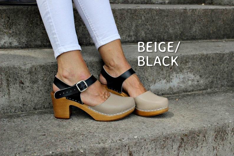 Leather clogs Black sandals Ankle Strap Sandals Wooden clogs