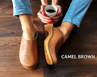 Swedish Clogs Moccasins Wooden clogs Women clogs Leather clogs Clog Womens clogs Boots Womens moccasins Wood clogs Clogs Clogs sandals brown