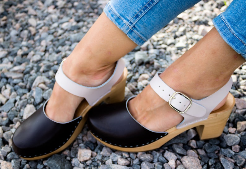 fe48e95db1acd Swedish clogs wooden clogs leather sandals white shoes women clogs leather  clogs leather sandals leather mules platform boots black beige