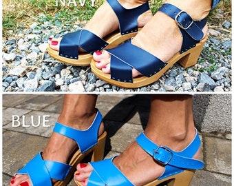 Clogs Swedish clogs leather sandals wooden sandals women clogs high heel sandal leather clogs mules women sandals wood clogs navy black shoe
