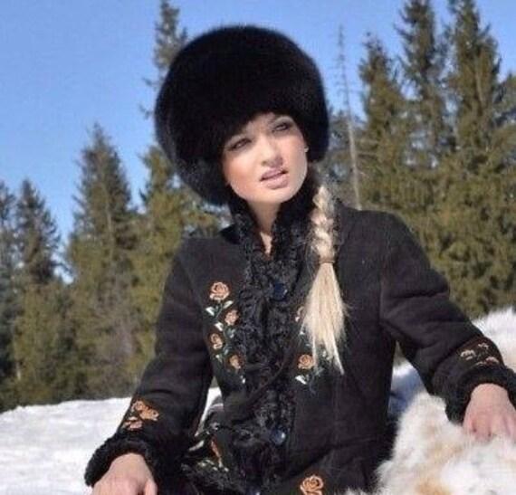 559d2f99ce4a6 New FOX FUR hat Black women warm winter beanie fur hat