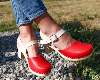 New Clogs Moccasins Wooden clogs Women clogs Leather clogs Clog Womens red shoes Boots Womens moccasins Wood clogs high heel sandals gift