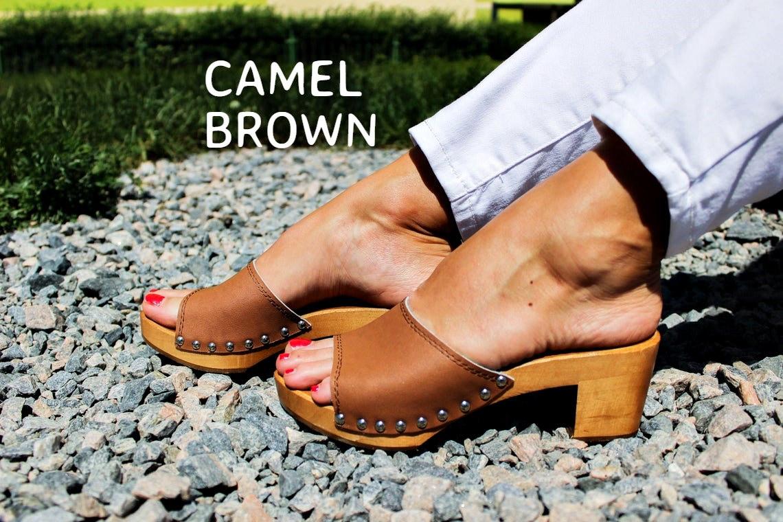 Leather clogs barefoot shoes dutch clogs swedish clogs clog sandals SANTA MONICA