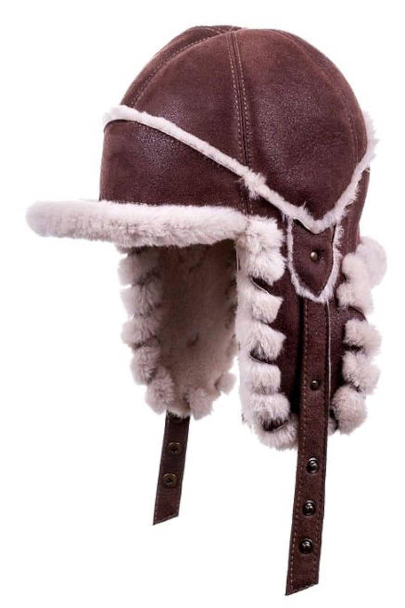 SHEEPSKIN LEATHER hat Trapper hat Trapper cap Aviator New hat  e7b353ecf3eb