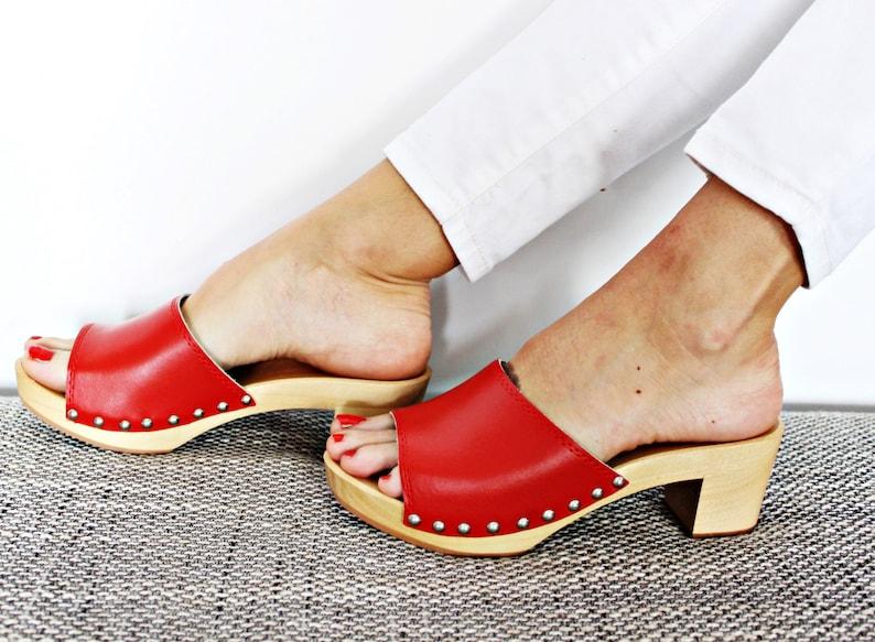 47a1e1bf44308 New LEATHER SANDALS high heel shoes platform wood red swedish platform  slide sandals for women slip on sandals slide shoes slip on shoes