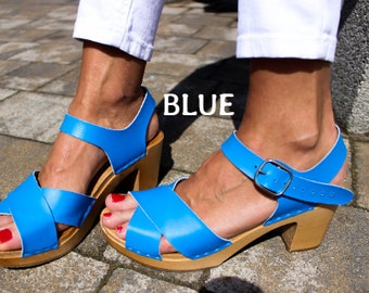Leather clogs Blue sandals Ankle Strap Sandals Wooden clogs swedish clogs Handmade clogs sandals Gift for women mules high heel wood clog