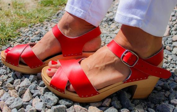 platform platform LEATHER shoes sandals swedish wood beige black New clogs leather shoes SANDALS clogs high heel wood clogs beigie wooden Xdw11Zfqx