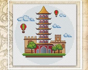 China cross stitch pattern asian cross stitch travel cross stitch chinese cross stitch oriental cross stitch city cross stitch chart simple