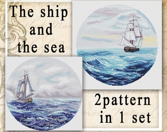 Ship counted cross stitch pattern PDF Round Ocean Seascape Sailing boat Large embroidery