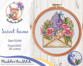 Home sweet home counted cross stitch pattern PDF, Pink peony flower, Little piggy, Purple envelope, Botanical embroidery