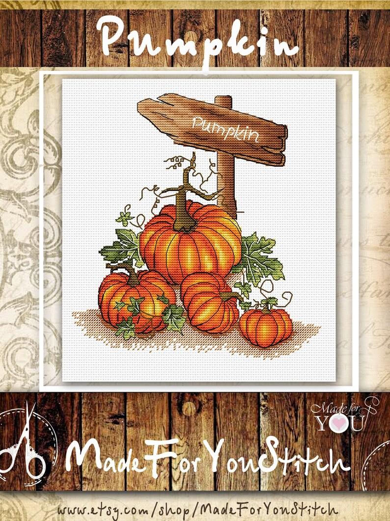668f9072f8c Halloween cross stitch pattern pumpkin cross stitch food cross | Etsy