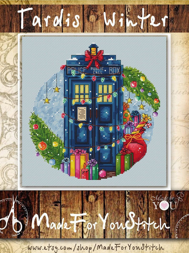 f4be38ff29c Winter Christmas tardis cross stitch pattern Doctor who police