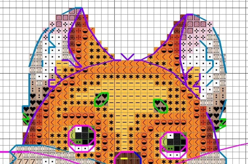 Merry Christmas counted cross stitch pattern PDF Jolly Fox Winter embroidery
