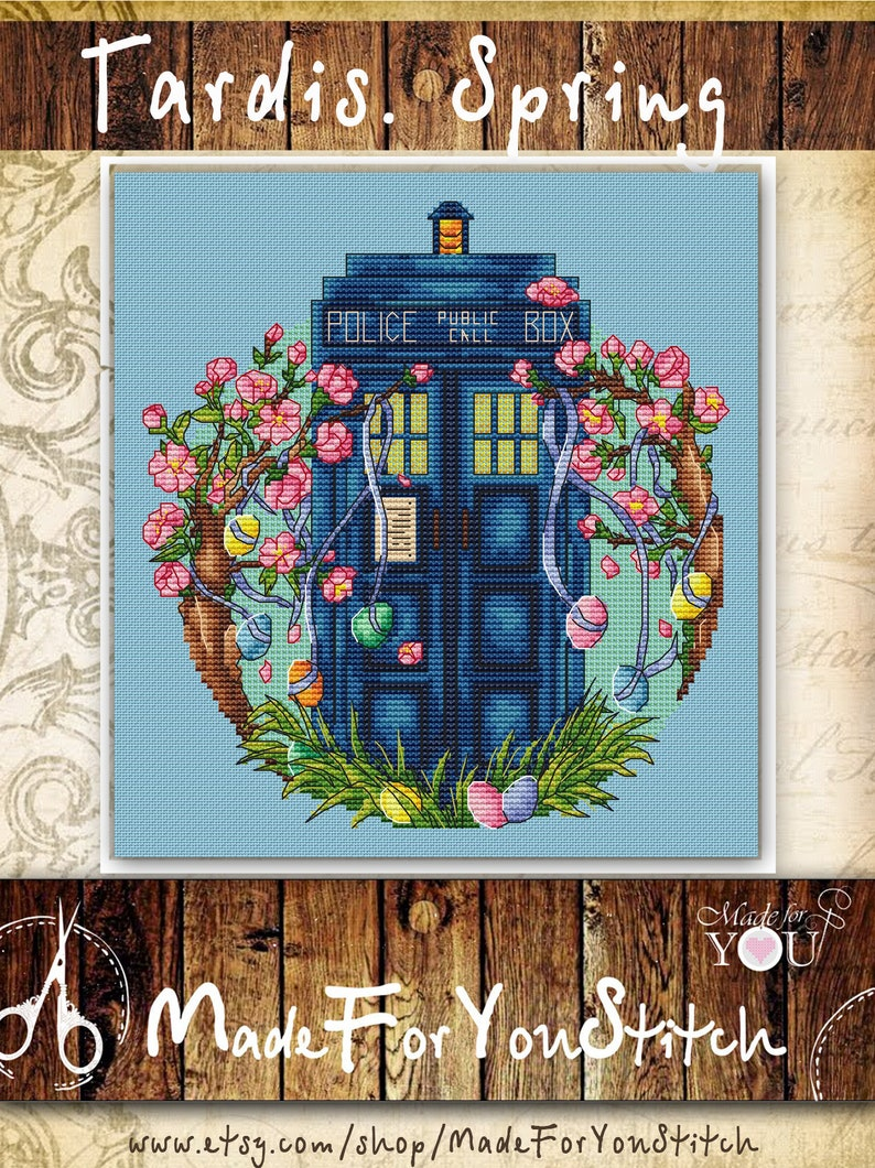 40112ae4af6 Spring Easter tardis cross stitch pattern Doctor who police