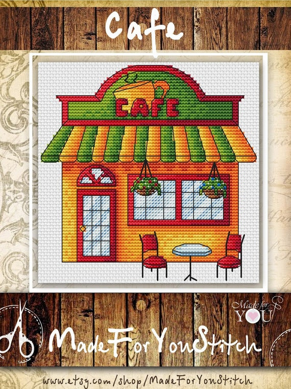 Coffee Shop Counted Cross Stitch Pattern Pdf Little House Etsy,Modern Interior Design For Medicine Retail Shop