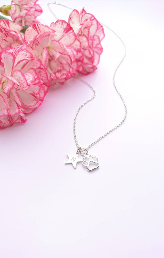 Beautiful Gift for Cat or Dog Lover. Sterling Silver Paw and Heart Necklace