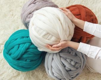 Chunky Yarn SALE! 100% Merino Wool Roving For Arm Knit, Bulky Giant Yarn For Chunky Knit Christmas Gift