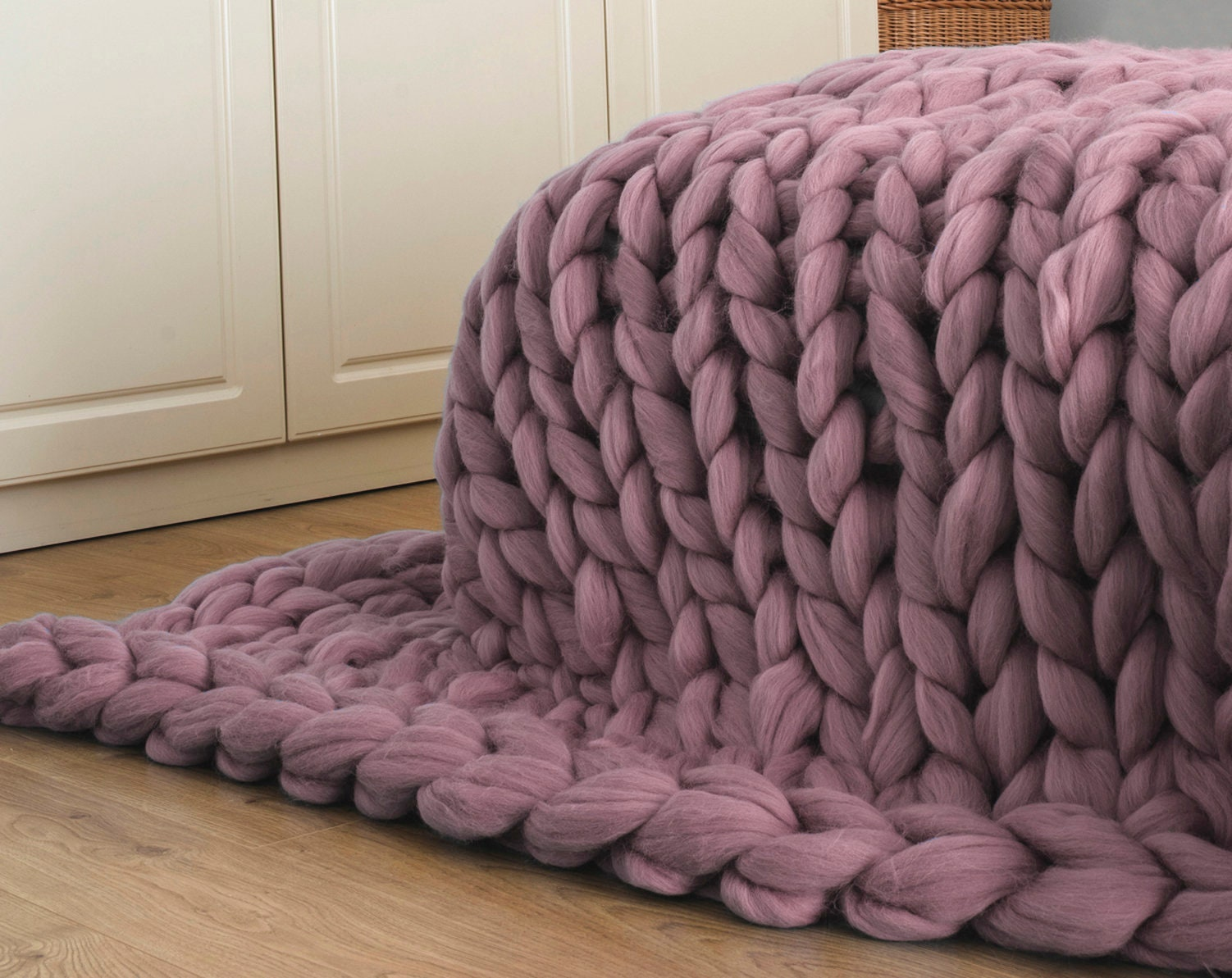 chunky riesen garn wolle decke aus handstrickte merino. Black Bedroom Furniture Sets. Home Design Ideas
