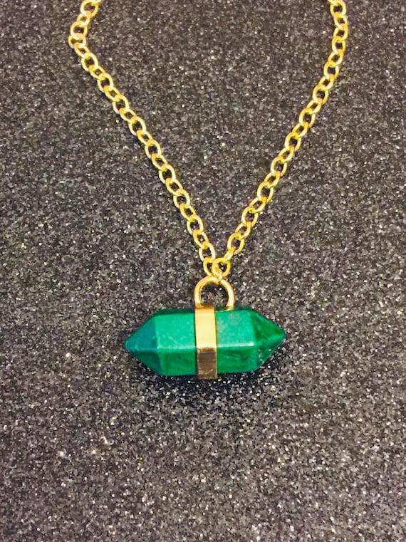 Green Stone Necklace MALACHITE HORIZONTAL Necklace:Malachite Jewelry,Malachite Gemstone Necklace Metaphysical Jewelry,Green Necklace