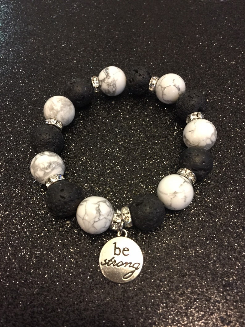 Lava Stone Bracelet Gift for Her Aromatherapy Bracelet Calming Bracelet Calming Clarity Bracelet: Howlite Bracelet