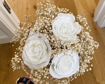 Small Paper wedding bouquet replica. Wedding bouquet replica. Paper flowers recreation. Paper anniversary. Wedding anniversary gift.