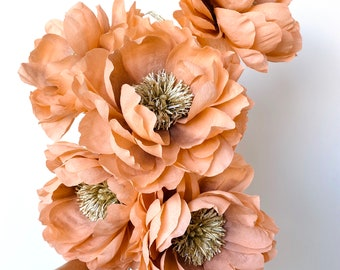 Rose gold paper flower. Floral Art, home decoration. Sustainable Mother's Day. Faux flower.