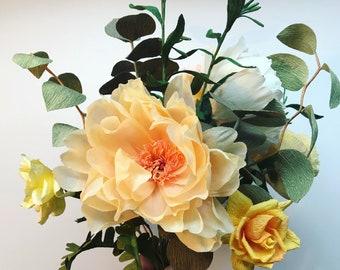 Large Paper wedding bouquet replica.  Paper flowers recreation. Paper anniversary.
