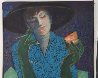 Great painting Woman with cigaret nabi post impressionism