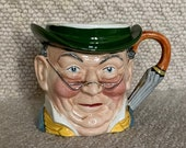 Vintage Staffordshire pottery character jug. Mr Pickwick.