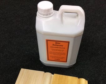 Pine Antiquator Wood Ageing Solution. Chemical  solution / stain to give new pine wood / timber an antique, aged effect and colour. 2 litres
