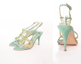 1990 FORNARINA Sandals Suede and Rhinestones. Size 36FR.