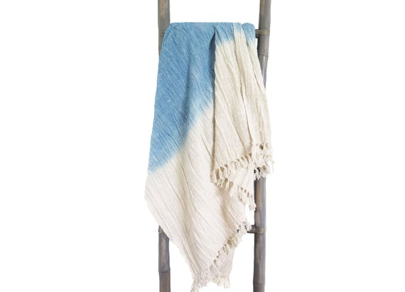 Handwoven indigo ombre raw cotton throw blanket with fringes 78x47 inches, 200 x120 cm